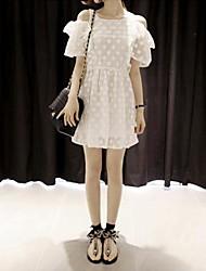 Lace Bordados Crochet Strapless Vestido das mulheres