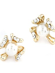 Delicate Flower Design Dominate Alloy with Pearl Stud Earrings