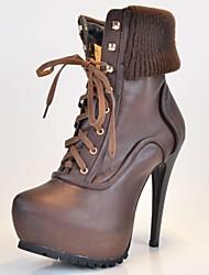 Pfennigabsatz Plattform knöchelhohe Stiefel bc Leder Frauen