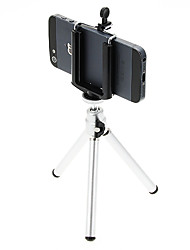I-12-3-SL Mini Desktop Aluminum Tripod with Single-deck Three Sections (Sliver) & Mobile Phone Tripod Mount Holder