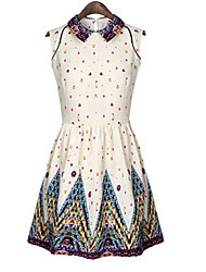 CoCo Zhang Women's Floral Print Fresh New Style Sweet Sleeveless Dress