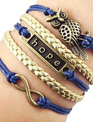 Shixin® European Tag 22cm Women's Blue Leather ID Bracelet(1 Pc)