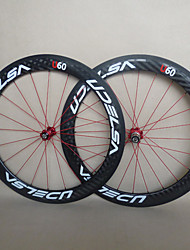 UDELSA - WH-R60-C 60mm 700C Full Carbon Fiber Clincher Road Bike/Bicycle Wheelsets