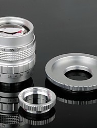 50mm F1.4 CCTV Lens C Mount + Macro Rings + C-NEX adapterring set voor Sony NEX-5C NEX-7 etc - Zilver