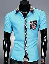 Mannen splicing Kleur korte mouw Bloemen Shirt