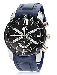 Men's Sport Watch Calendar Quartz Silicone Band Black Navy