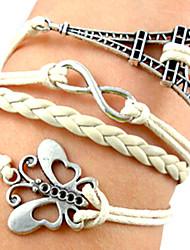 Shixin® European Butterfly 22cm Women's White Leather Wrap Bracelet(1 Pc)