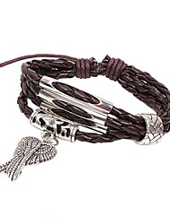 Weinlese-Angle Wing 20cm Frauen Brown Leather Bracelet Strand () (1 Stk.)