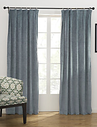 Modern Two Panels Solid Blue Bedroom Poly  Cotton Blend Panel Curtains Drapes