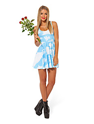 S de señora Women Blue Sky White Cloud Bouffant Vestido