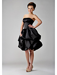Lanting Bride® Knee-length Satin Little Black Dress Bridesmaid Dress - Ball Gown Strapless Plus Size / Petite withBow(s) / Pick Up Skirt