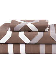 "Sheet Set,4-Piece Microfiber Plaid Coffee with 12"" Pocket Depth"