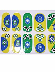 2014 Most Popular Brazil  Football Game Pattern Nail Art Stickers Foil For Long Nails