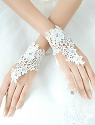 Wrist Length Fingerless Glove Lycra Bridal Gloves / Party/ Evening Gloves White Sequins / Floral / Rhinestone