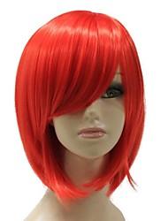 Capless Heat-resistant Fiber Short Straight Red Mixed Color BOBO Full wig
