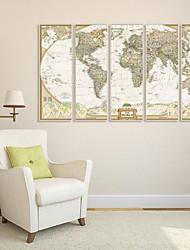 Mapa del mundo Framed Canvas juego de 5