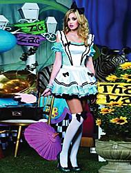 Candy Girl Estilo Alice no traje de Halloween do país das maravilhas de poliéster azul das mulheres