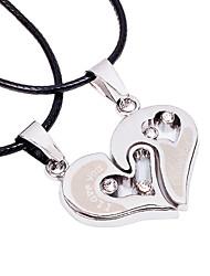 Men's Women's Pendant Necklaces Statement Necklaces Heart Geometric Stainless Steel Titanium Steel Unique Design Dangling Style Love