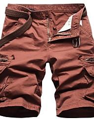 Multi bolso da calça cor sólida dos homens (Belt não incluídas)