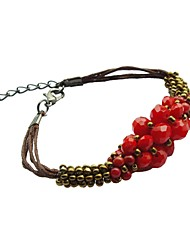 Macaci® Fashion Style Women's Crystals Corals Wrap Bracelet (Red)