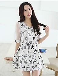 Frauen Loose Fit Blumendruck A-Line Short Sleeve Dress