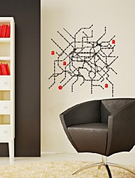 Shapes Circle Route Map Wall Stickers