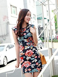 Women's Floral Multi-color Dress , Sexy/Beach Crew Neck Sleeveless