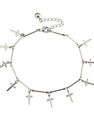 Classic Cross Women Silver Alloy Anklets(28cm*1.5cm*0.2cm) (1 Pc)