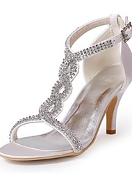 Satin Stiletto Heel Open Toe Wedding Sandals With Rhinestone Women's Shoes(More Colors)