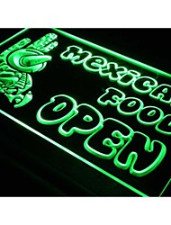 i101 OPEN Mexican Cactus Food Bar Cafe  Light Sign