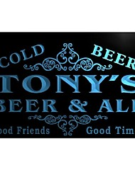 qs103 Tony's Beer & Ale Vintage Design Bar Decor Neon Light Sign
