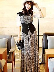 Simples Bohemia Sleevless cintura Chiffon Vestido de Moda Rainha Mulheres (Cor da tela)
