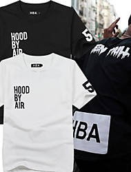Men's Round Collar Short Sleeve Hip Hop T Shirt