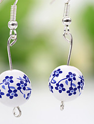 Blue and white Handwork Ethnic Style Jingdezhen Ceramic Exquisite Plum Blossom Pattern Earrings(Blue)