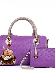 Kethlyn Women's PUrple Lozenge Pattern With Dangling Portable PU Leather Tote And Wallet