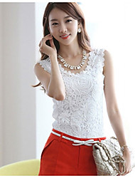 Artemis Women'S Fashion Round Collar Lace Solid Color Sleevless Shirt (White)