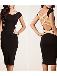 Sexy à manches courtes Halter robe de bandage de femmes