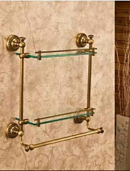 Bathroom Shelves,Antique Bronze  Wall Mounted  Double Glass Shelf,Bathroom Accessory