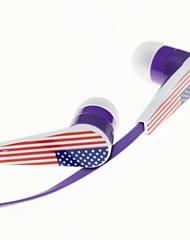 3,5 mm Super-basses de haute qualité écouteurs intra-auriculaires avec micro pour MP3, MP4, iPod, téléphone mobile (États-Unis  Drapeau national)