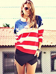 Women's USA Flag Pullover Jumper Tops Sweater
