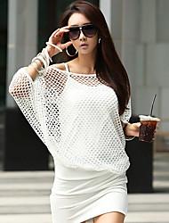 LUOSHANJI Women's Korean Elegant Sexy Bodycon Dress(White)
