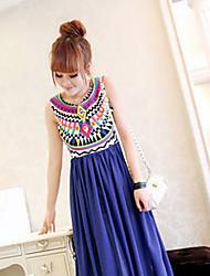 Women's Print Blue/Red/White Dress,Maxi Round Neck Sleeveless