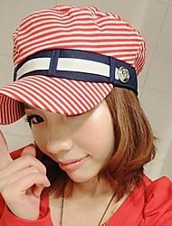 Die europäischen und amerikanischen Mode rein und frisch und Stripe Hat Freizeit Flache Hat Red