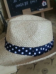 Children's Dot Knit Straw Hat