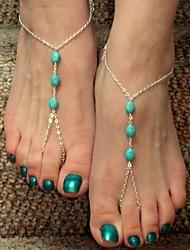 shixin® do vintage três zircões liga sandália descalço (ouro, prata, bronze) (1 pc)