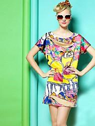 Весна, лето, REW Женская Темперамент Европа Стенд Сумка Печать Код свободной летучей мыши рукав платья