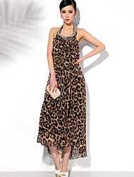 Leopard cuello halter vestido sin espalda de la mujer GMFI (pantalla a color)