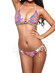 Women's Indian Print Pattern Sexy A-line Halter Bikini Swimwear