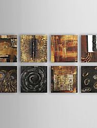 Hand-painted Abstract Oil Painting with Stretched Frame - Set of 8