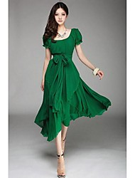 Women's Puff Sleeve Layered Chiffon Swing Midi Dress with Bow Belt